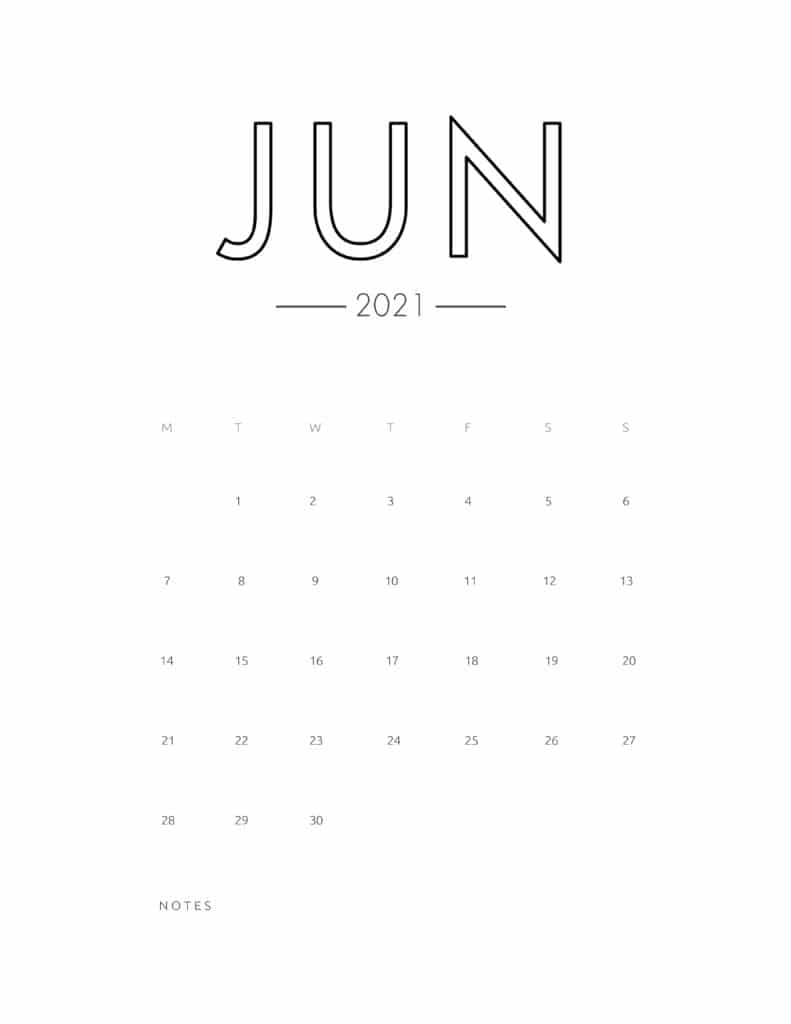2021 June Free Monthly Calendar Template