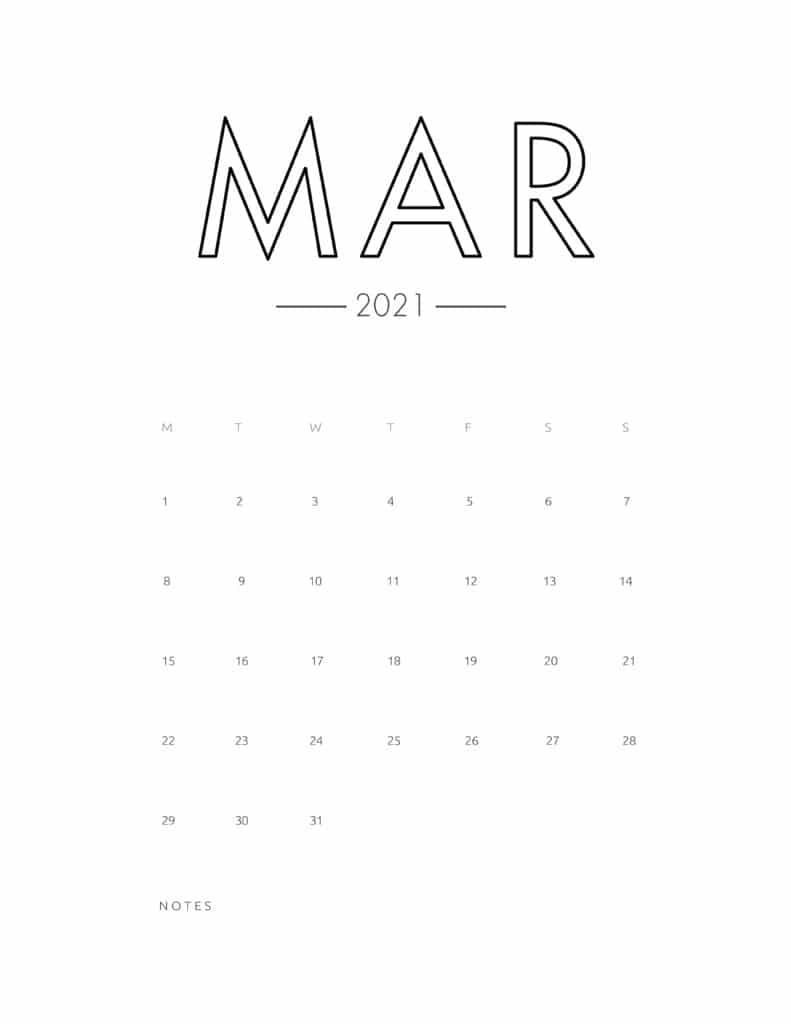 2021 March Free Monthly Calendar Template