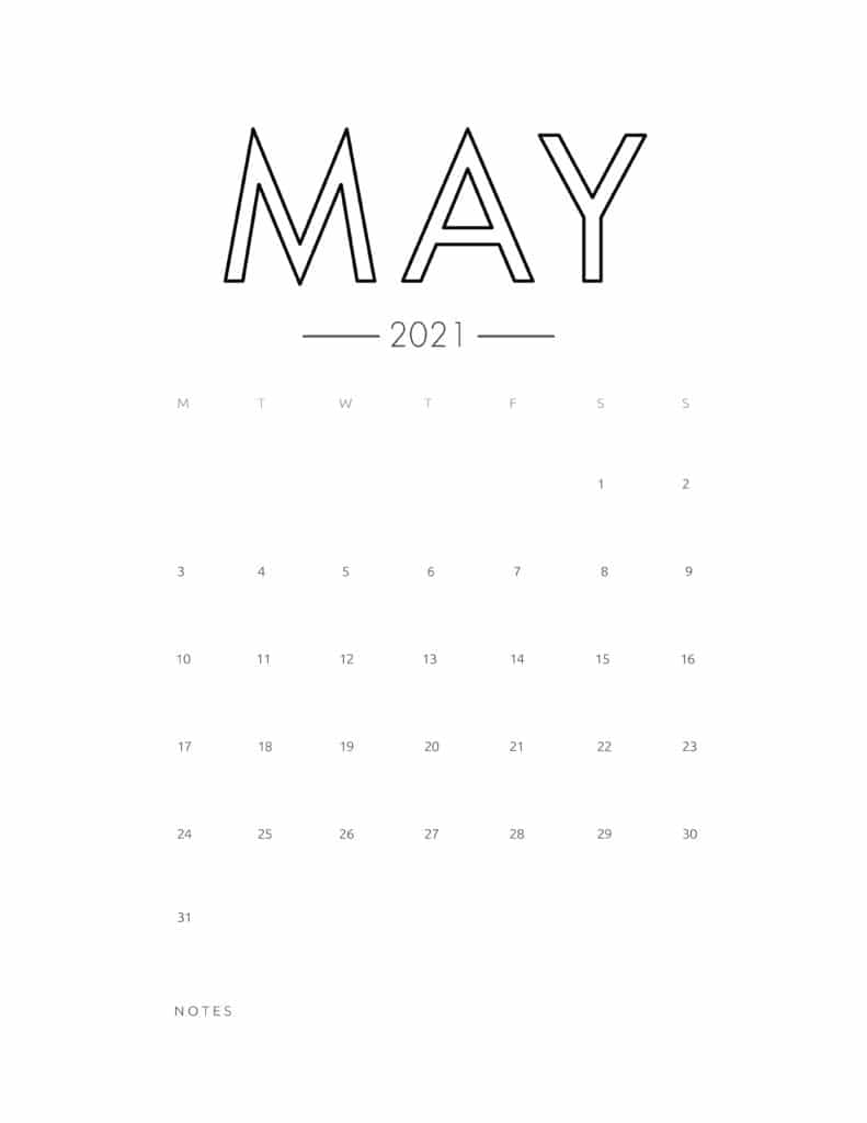 2021 May Free Monthly Calendar Template