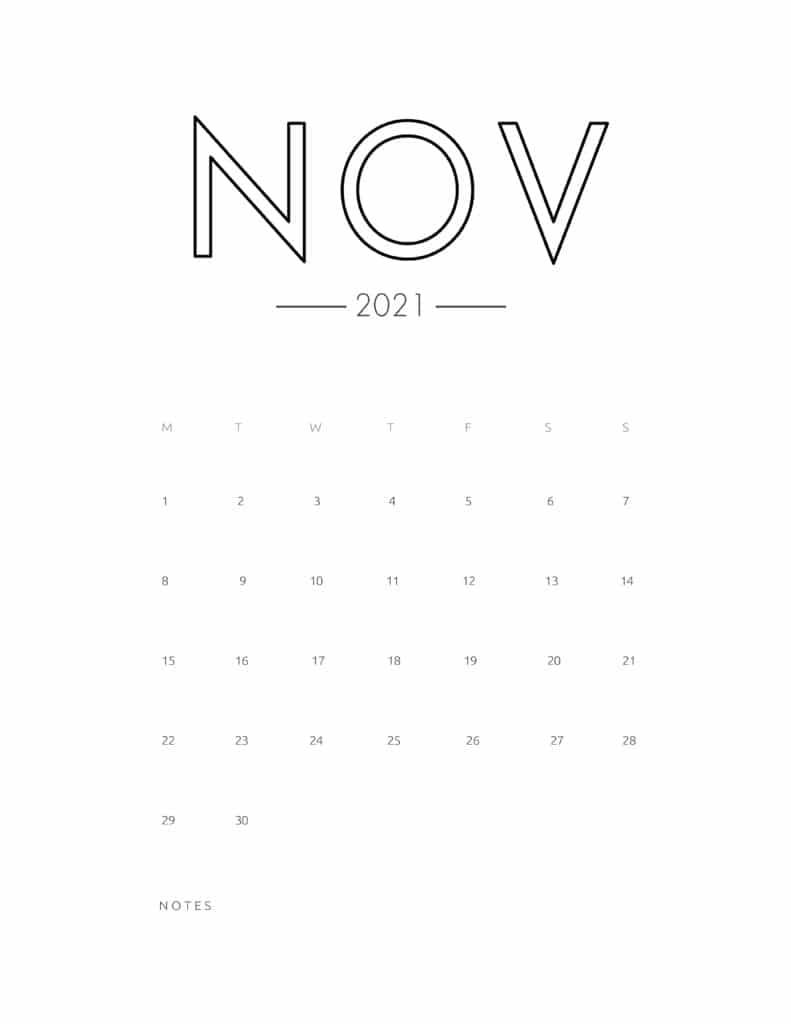 2021 November Free Monthly Calendar Template