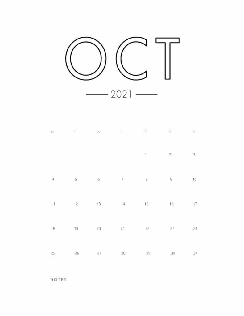 2021 October Free Monthly Calendar Template