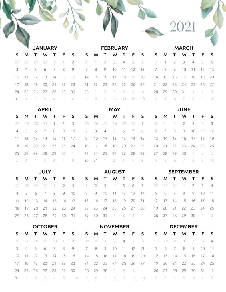 2021 One Page Botanical Calendar