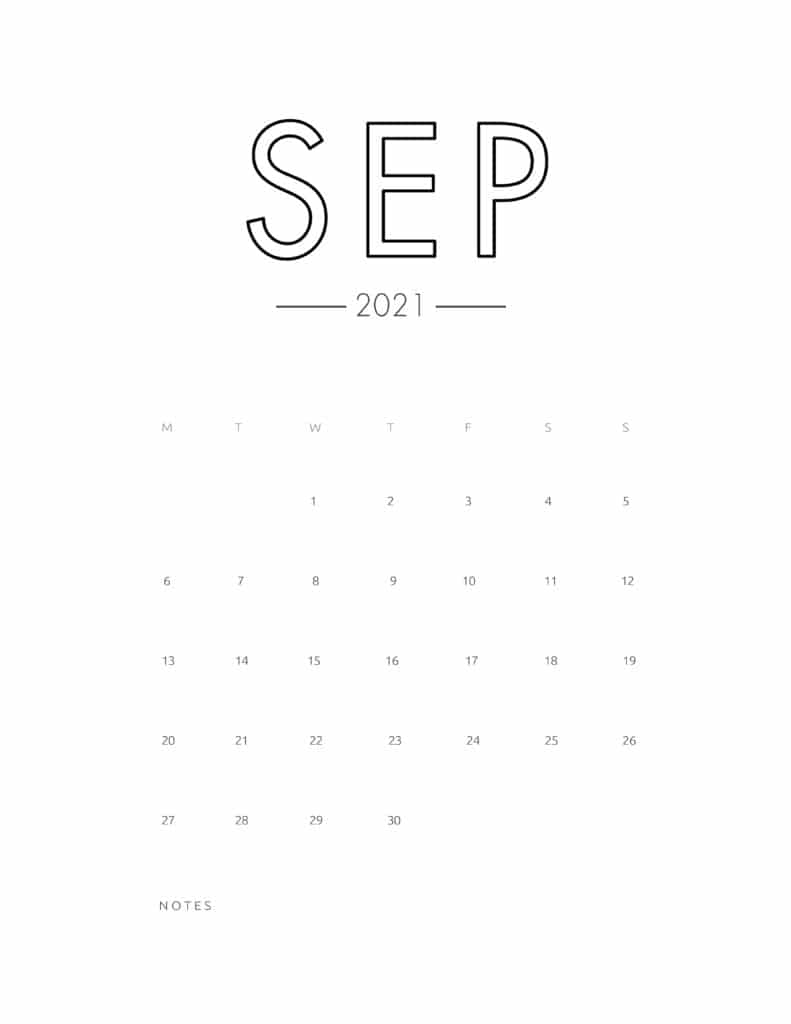2021 September Free Monthly Calendar Template