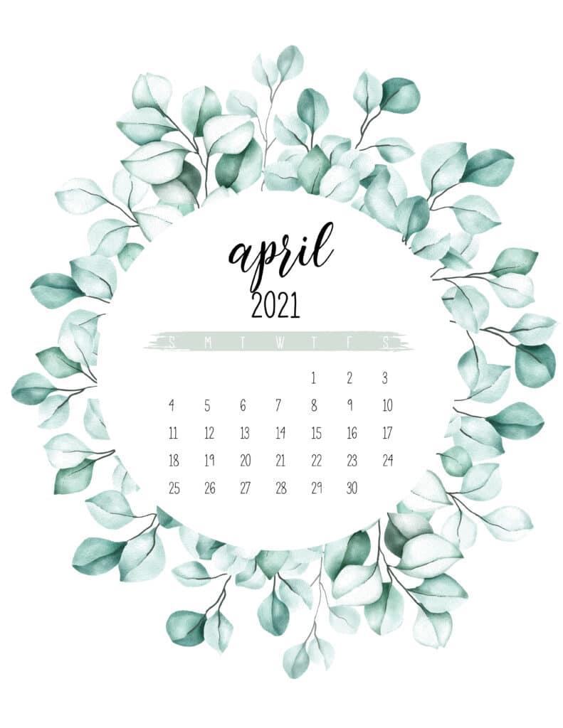 April 2021 Calendar Botanical Theme