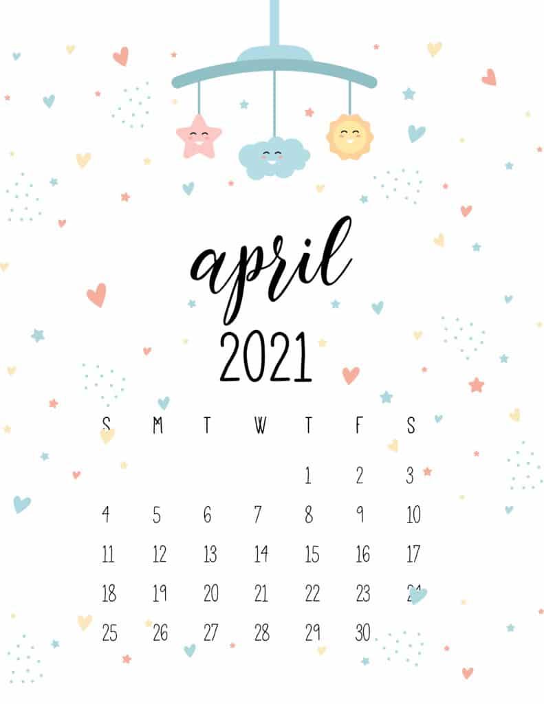 April 2021 Calendar Cute Nursery Mobile