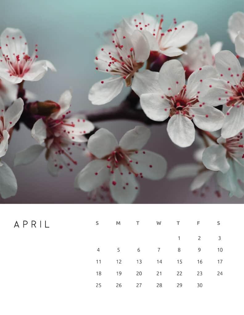 April 2021 Calendar Floral Photography