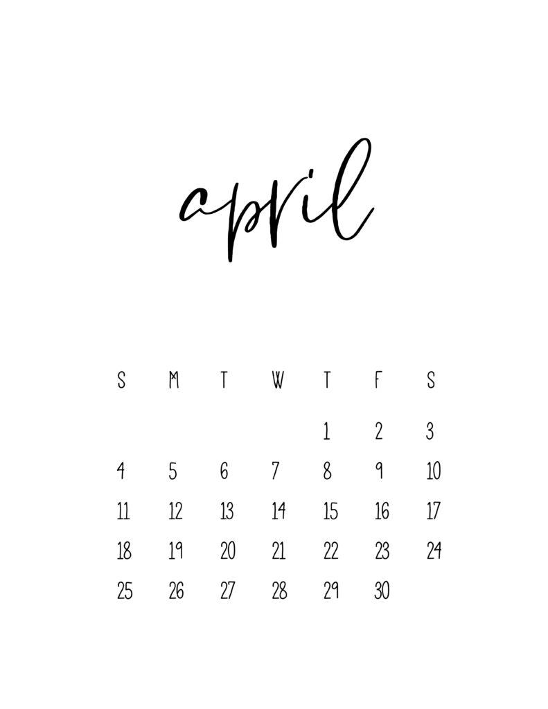 April 2021 Calendar Free Printable Template