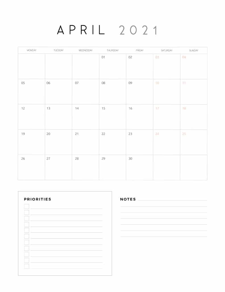 April 2021 Calendar With Priorities And Notes