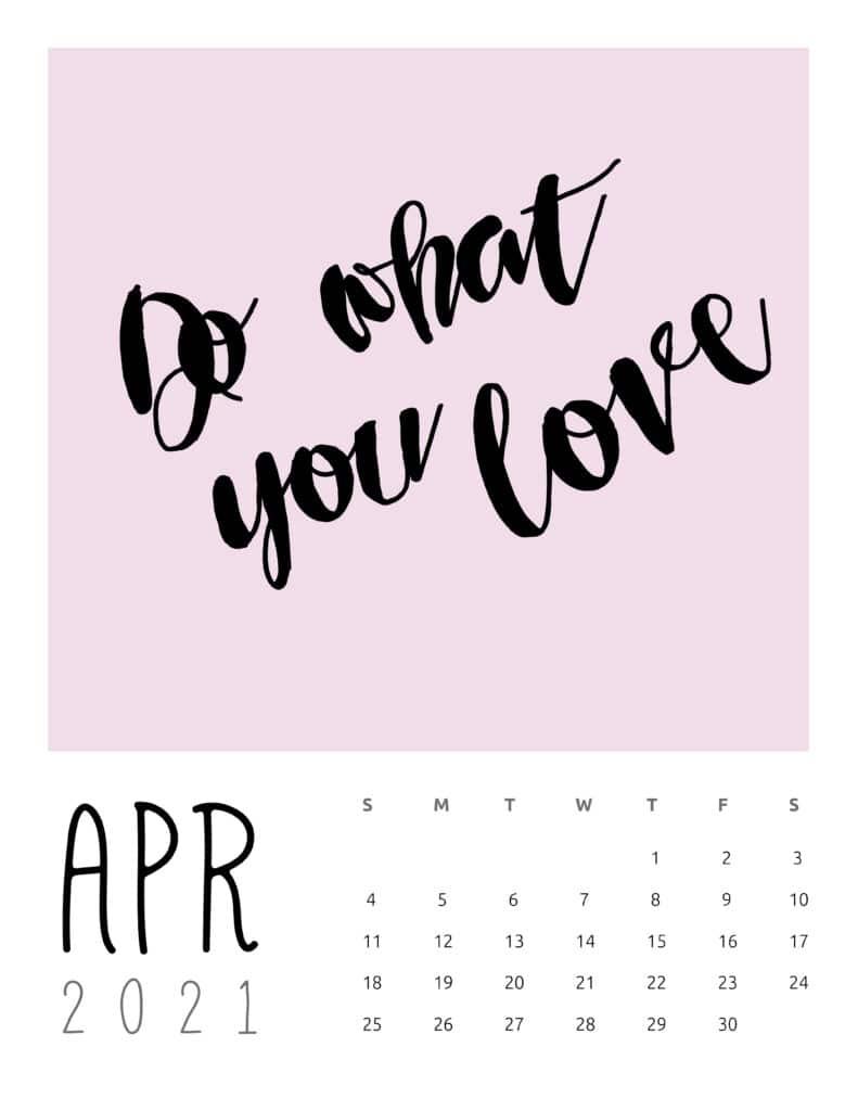 April 2021 Inspirational Quotes Calendar