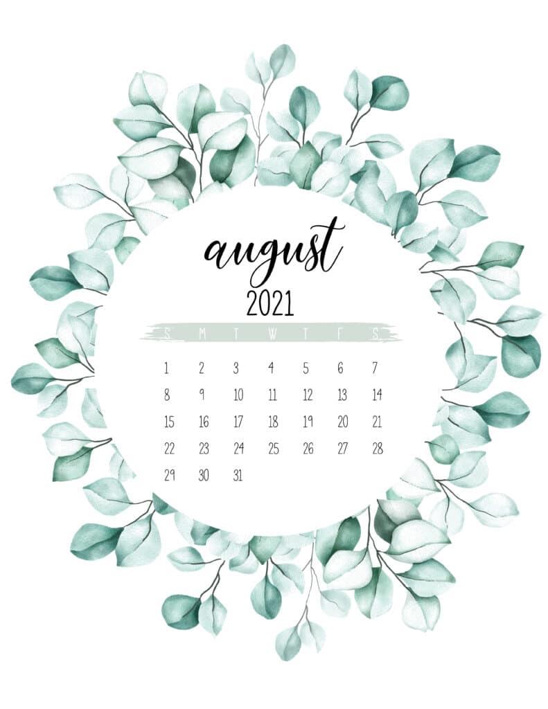 August 2021 Calendar Botanical Theme