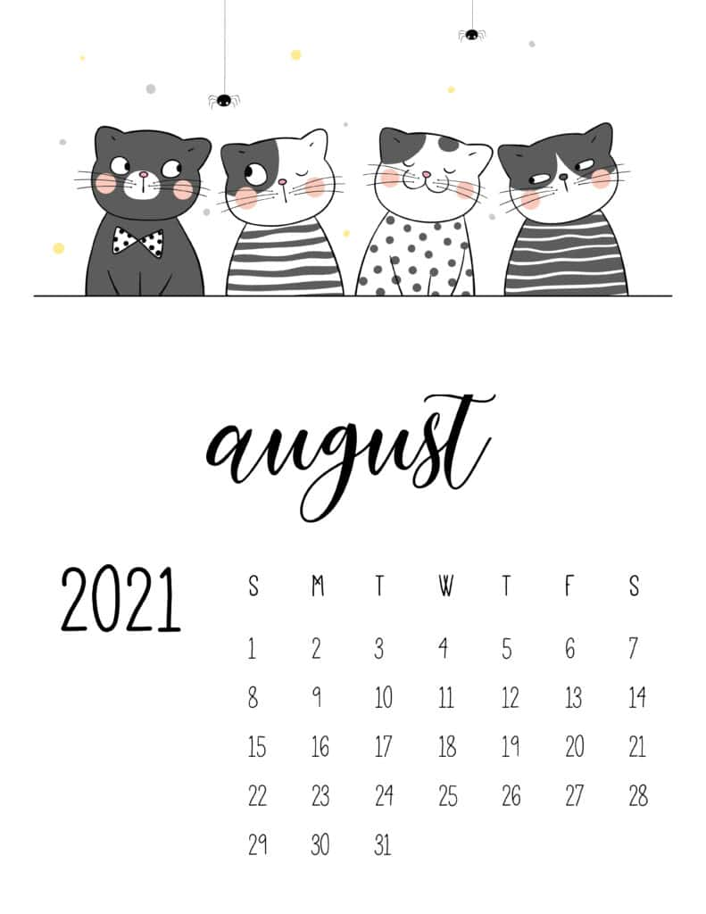August 2021 Calendar Cute Cats