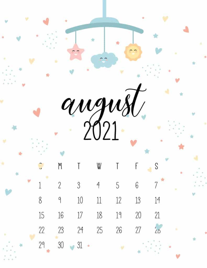 August 2021 Calendar Cute Nursery Mobile