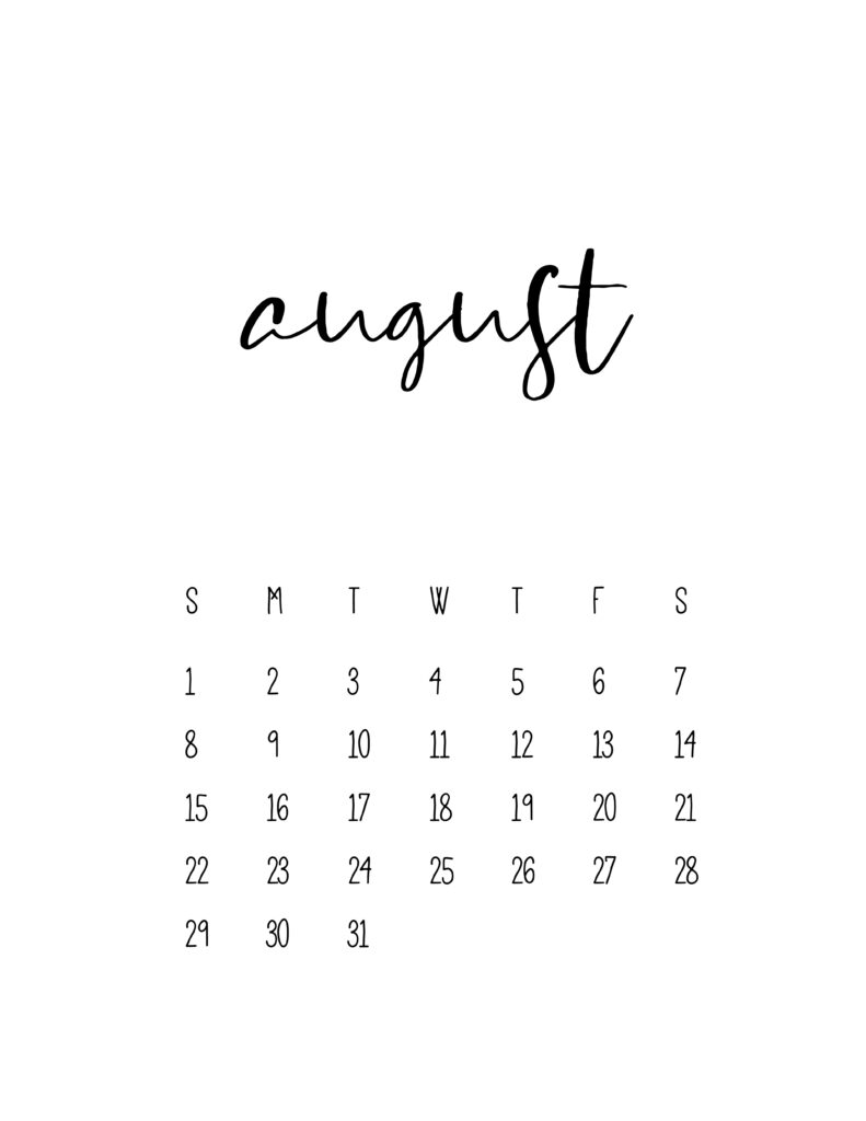 August 2021 Calendar Free Printable Template