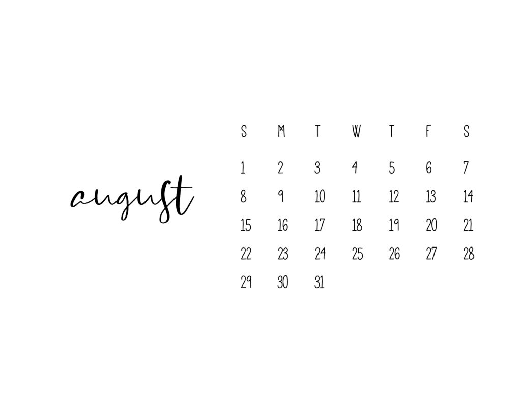 August 2021 Calendar Printable Free Template