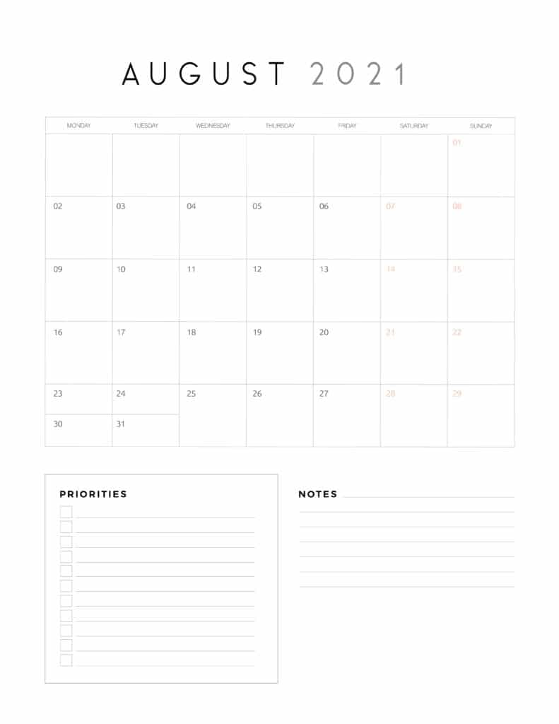 August 2021 Calendar With Priorities And Notes
