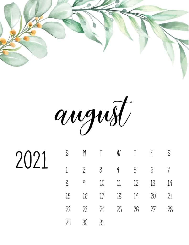 August 2021 Floral Calendar