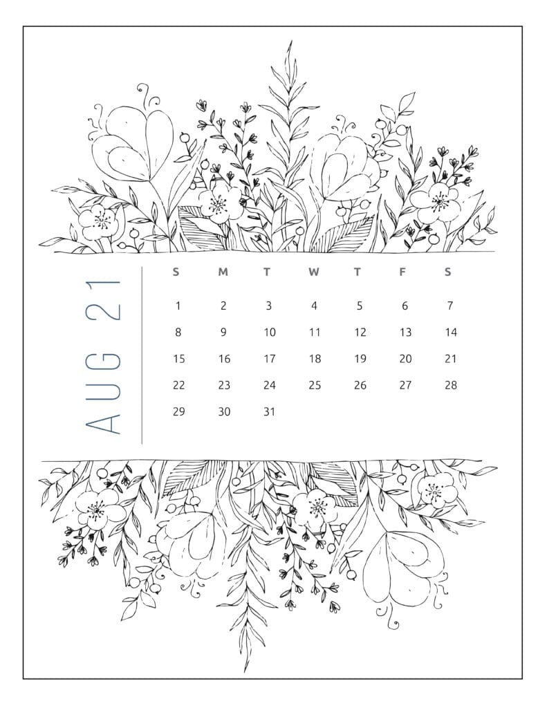 August 2021 Free Printable Calendar Floral Style