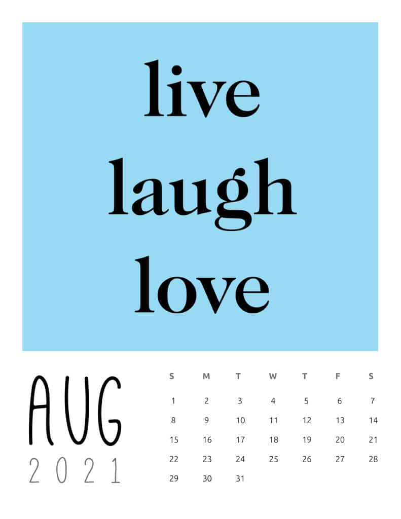 July 2021 Inspirational Quotes Calendar