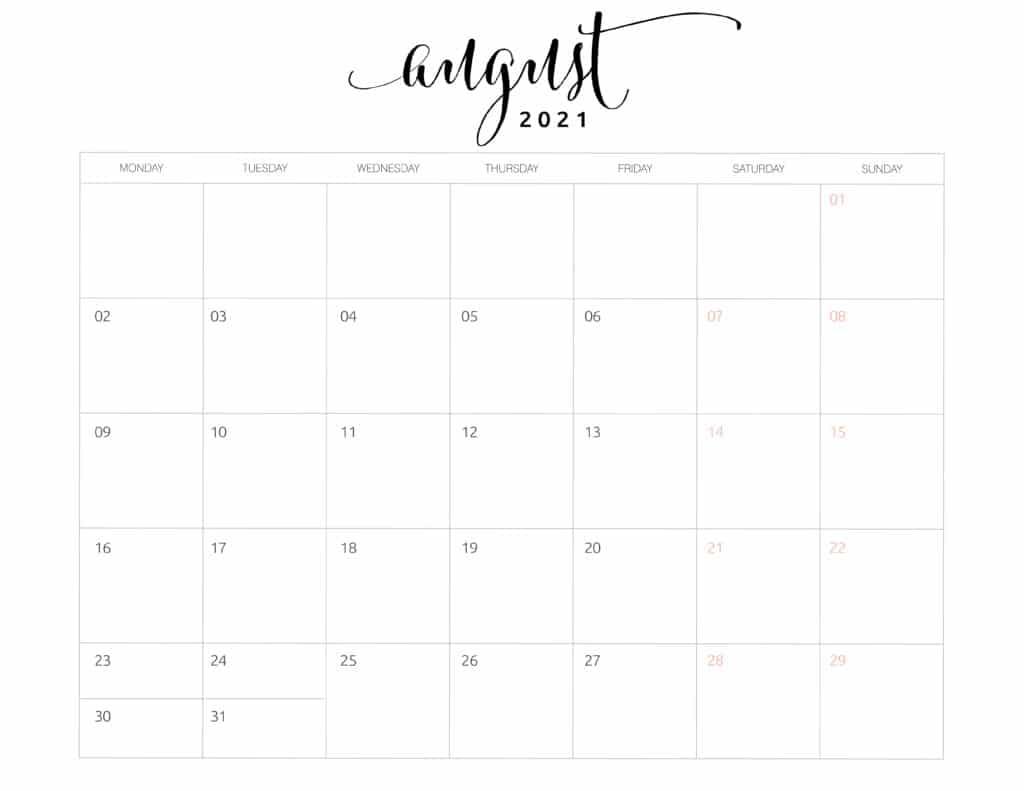 August 2021 Monthly Calendar Monday Start