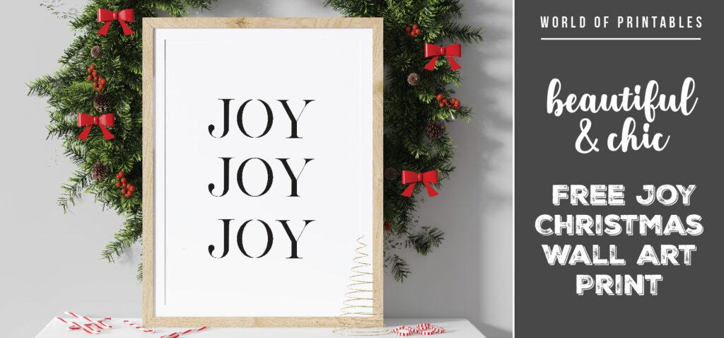 Beautiful and Chic Free Joy Christmas Wall Art Print