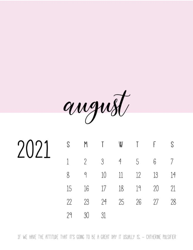 Block Color August 2021 Calendar
