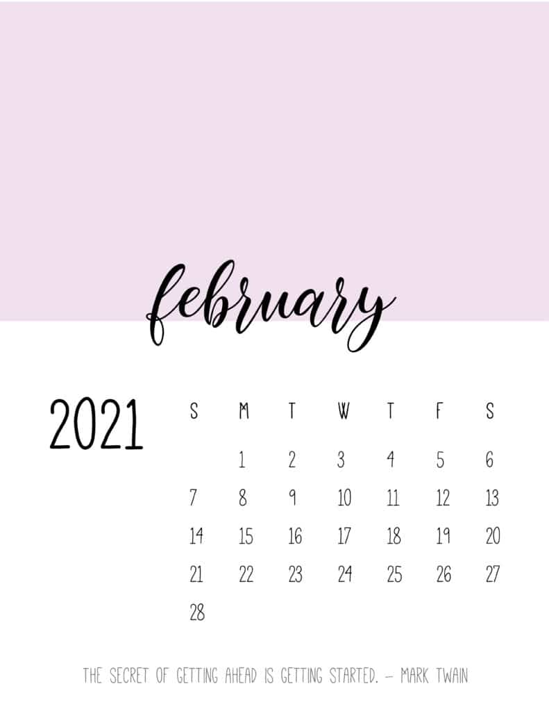 Block Color February 2021 Calendar
