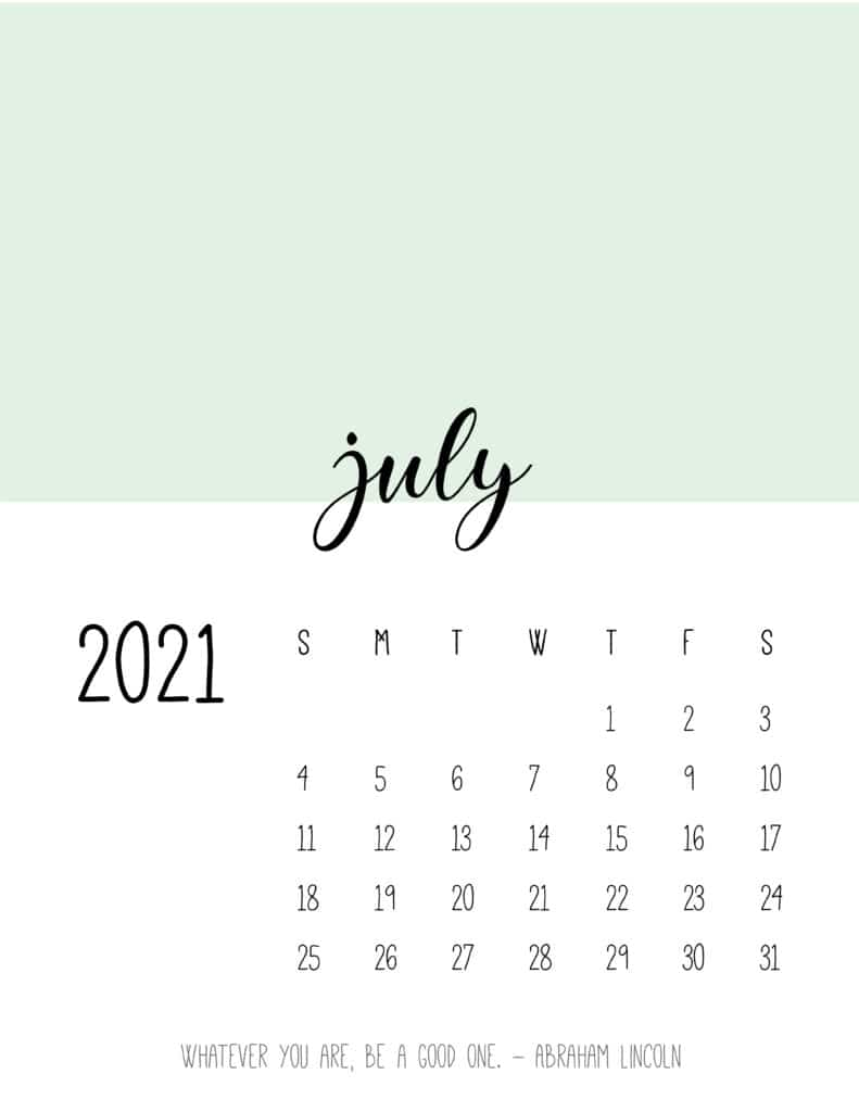 Block Color July 2021 Calendar