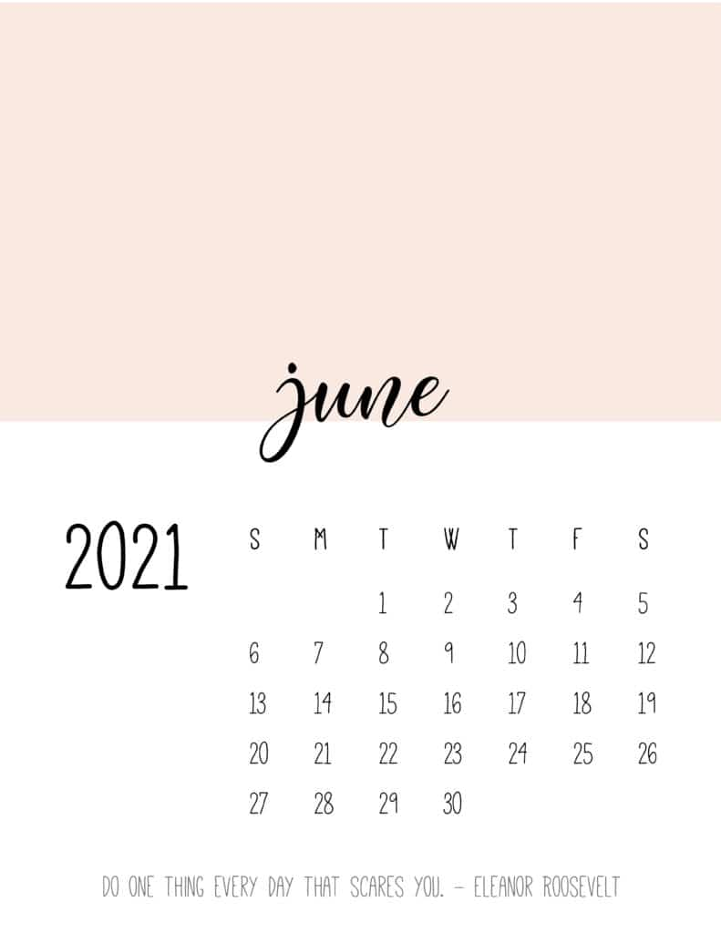 Block Color June 2021 Calendar