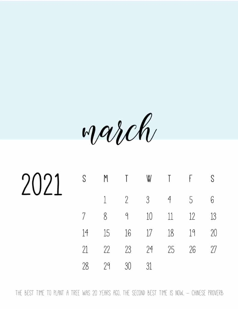 Block Color March 2021 Calendar