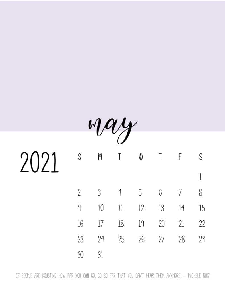 Block Color May 2021 Calendar