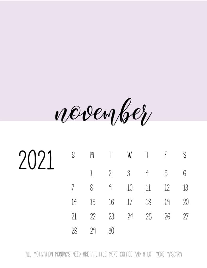 Block Color November 2021 Calendar