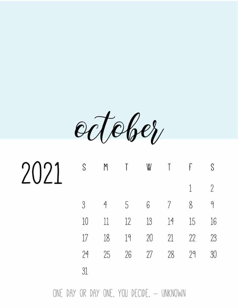 Block Color October 2021 Calendar