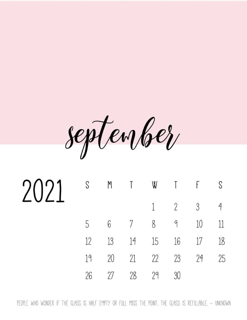 Block Color September 2021 Calendar