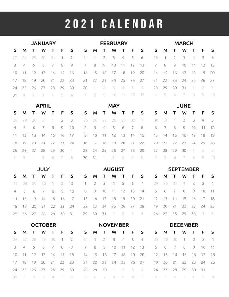 Calendar 2021 Printable One Page
