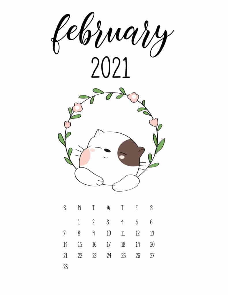 Cute Animals February 2021 Calendar In Floral Frame