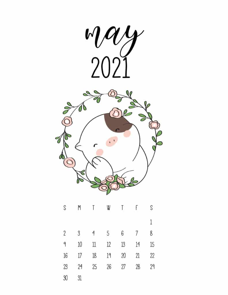 Cute Animals May 2021 Calendar In Floral Frame