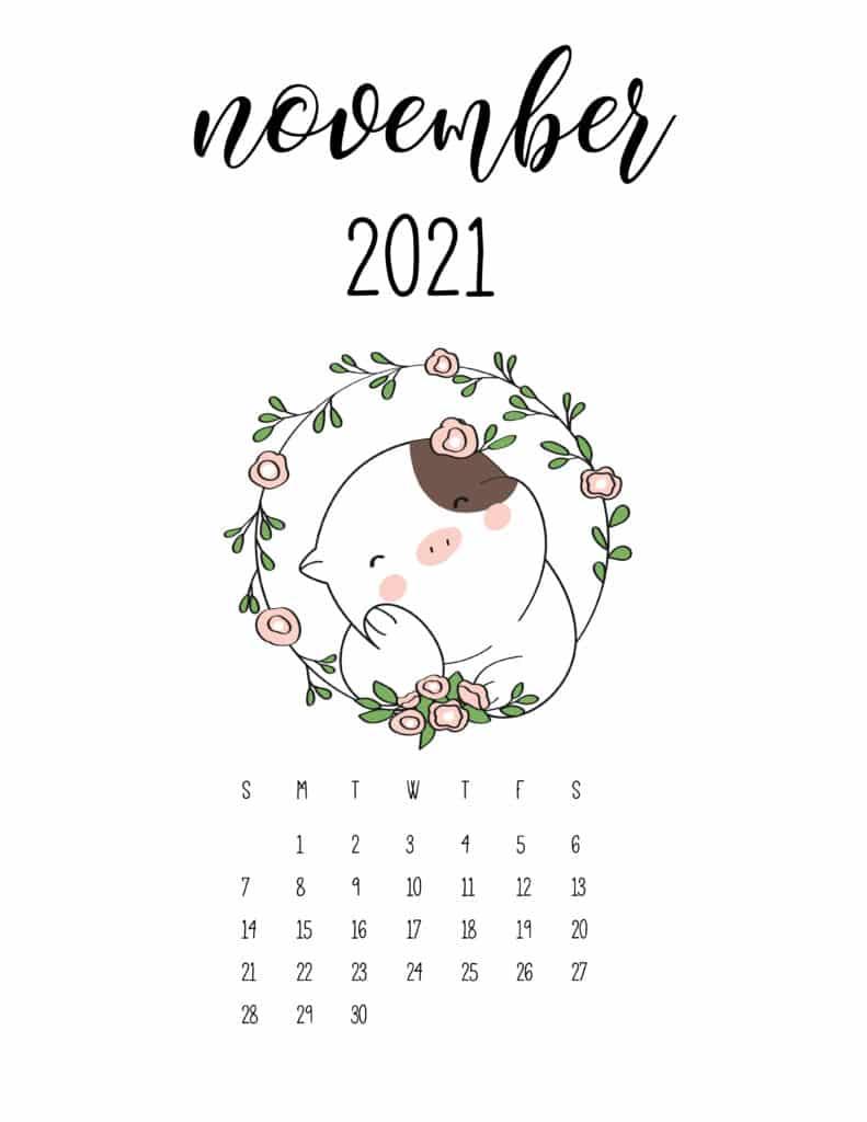 Cute Animals November 2021 Calendar In Floral Frame
