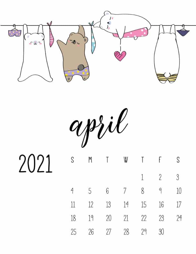 Cute Animals On Washing Line April 2021 Calendar