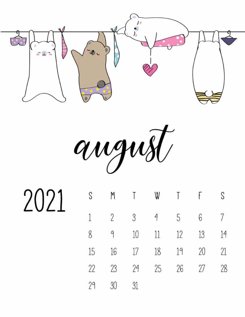 Cute Animals On Washing Line August 2021 Calendar
