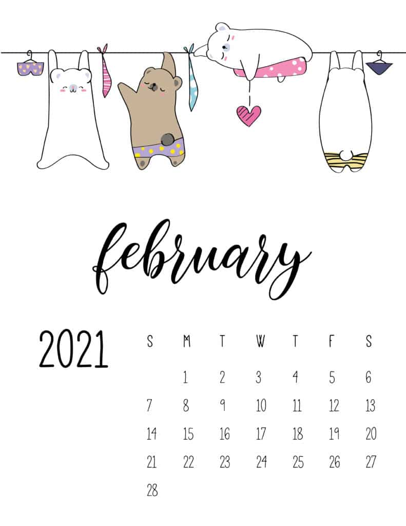 Cute Animals On Washing Line February 2021 Calendar