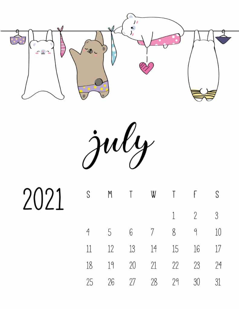 Cute Animals On Washing Line July 2021 Calendar
