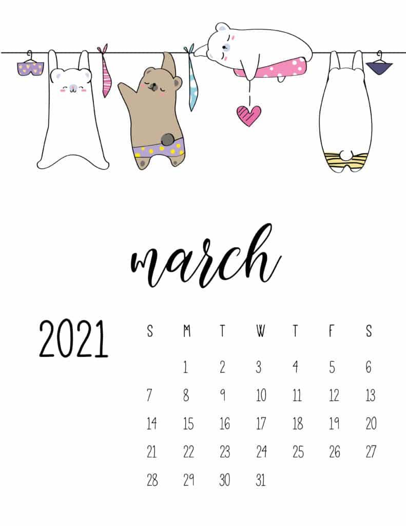 Cute Animals On Washing Line March 2021 Calendar