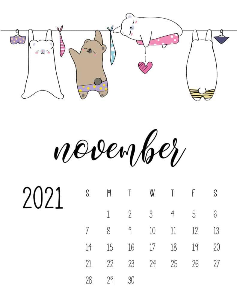 Cute Animals On Washing Line November 2021 Calendar