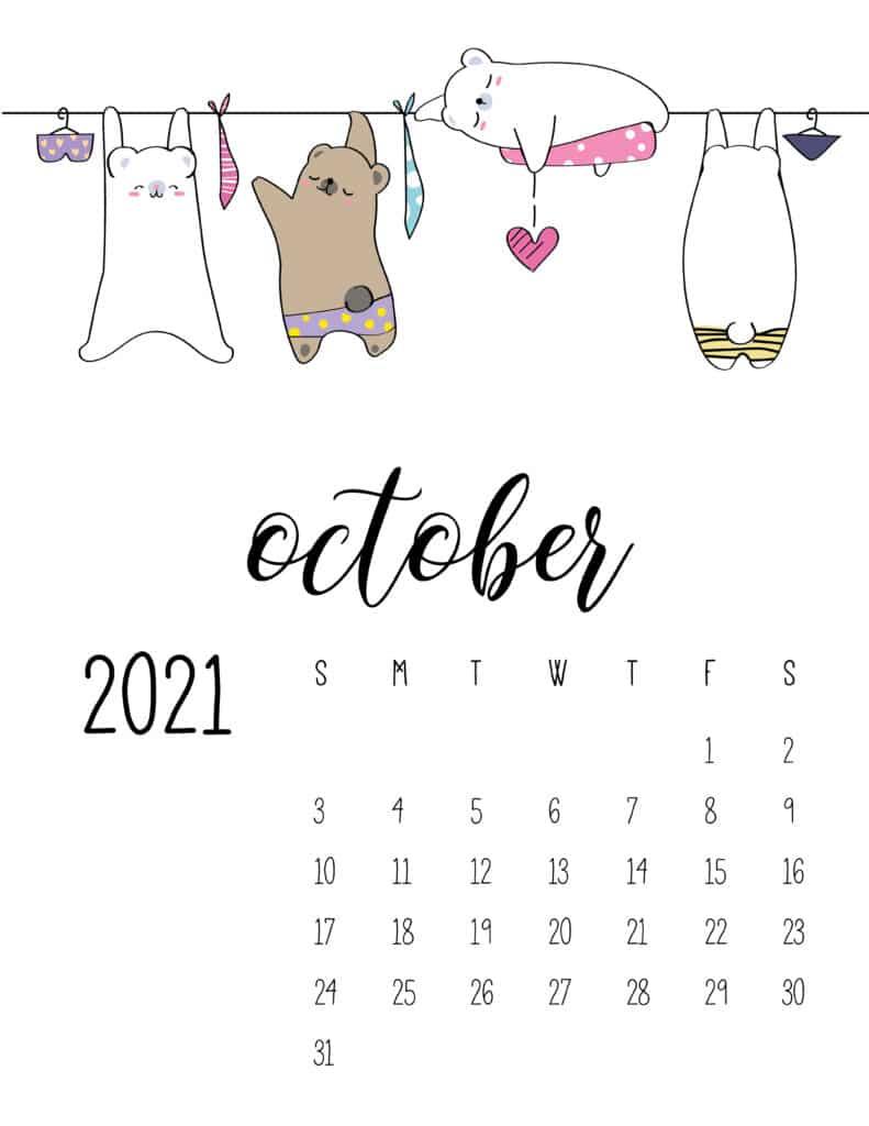 Cute Animals On Washing Line October 2021 Calendar