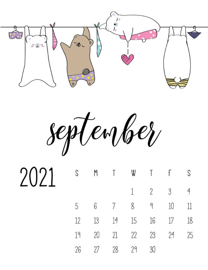 Cute Animals On Washing Line September 2021 Calendar