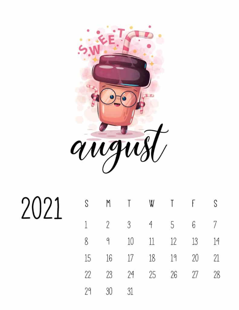 Cute Coffee Time August 2021 Calendar