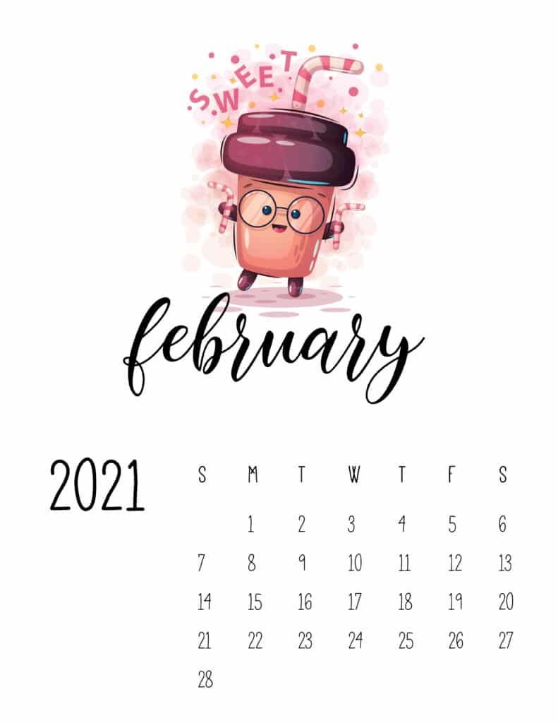Cute Coffee Time February 2021 Calendar