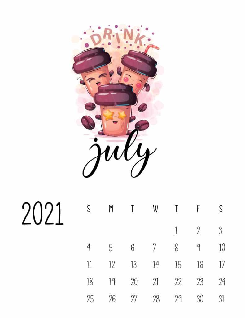 Cute Coffee Time July 2021 Calendar