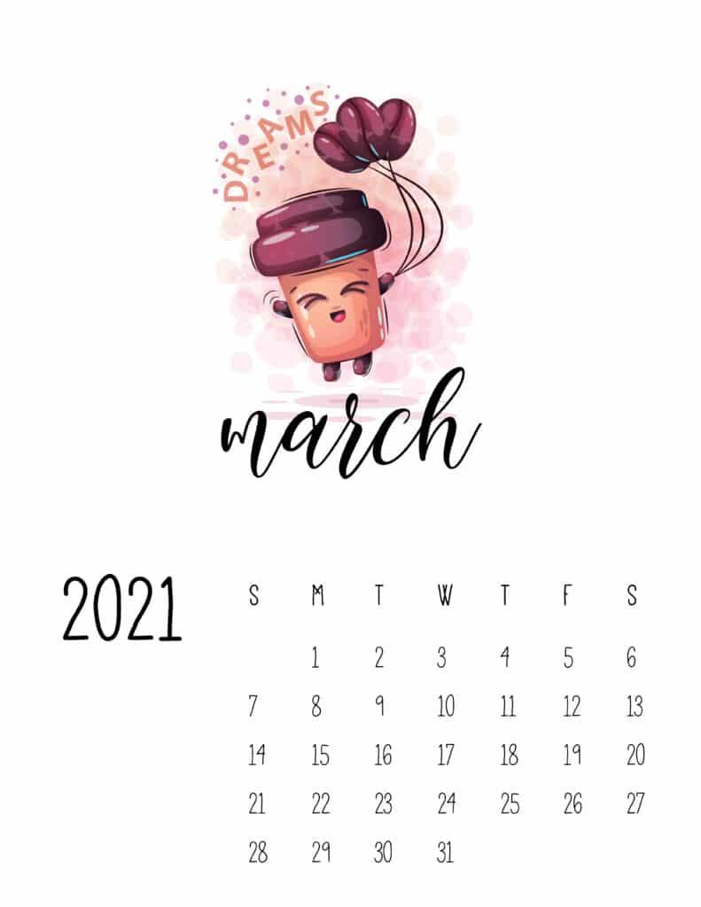 Cute Coffee Time March 2021 Calendar