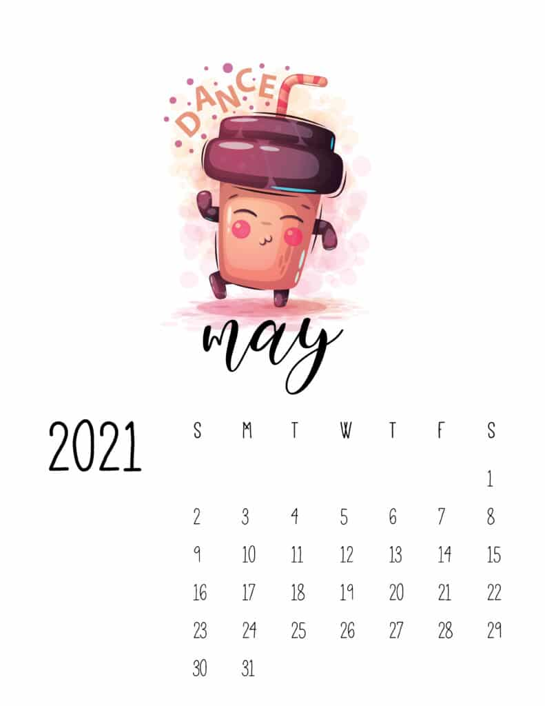 Cute Coffee Time May 2021 Calendar
